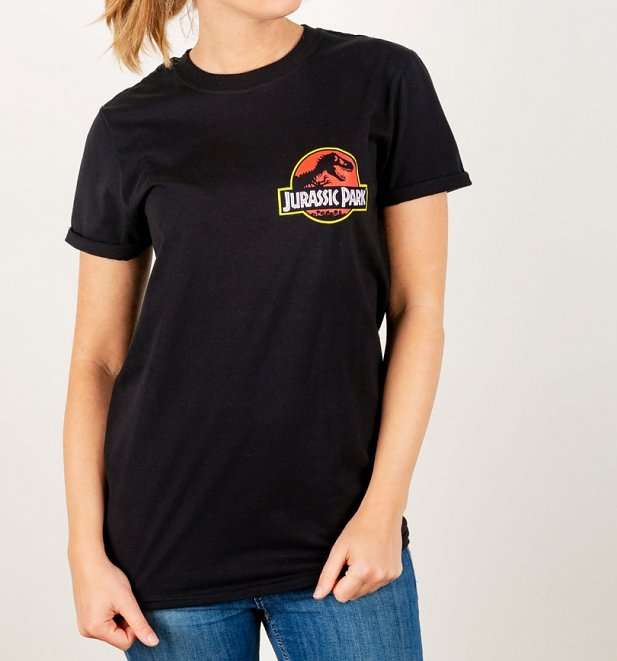 Women's Jurassic Park Ranger Back Print Black Rolled Sleeve T-Shirt
