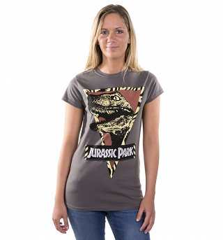 Women's Jurassic Park Raptor Charcoal T-Shirt