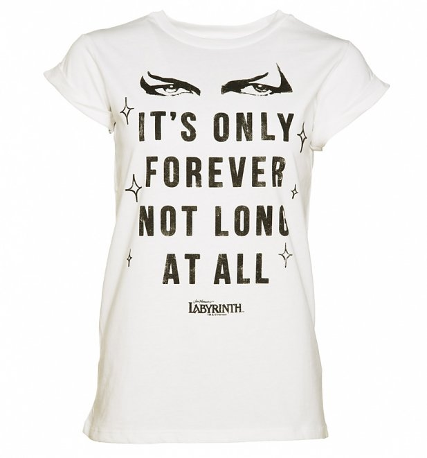 Women's Labyrinth It's Only Forever Not Long At All Rolled Sleeve Boyfriend T-Shirt