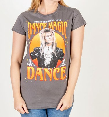 Women's Labyrinth Jareth The Goblin King Dance Magic Dance Fitted Charcoal T-Shirt