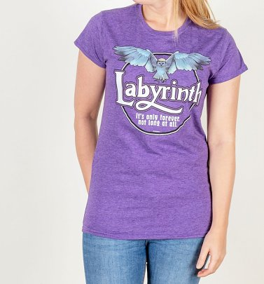 Women's Labyrinth Owl Logo Purple Fitted T-Shirt