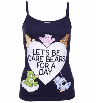 Women's Let's Be Care Bears For a Day Navy Strappy Vest