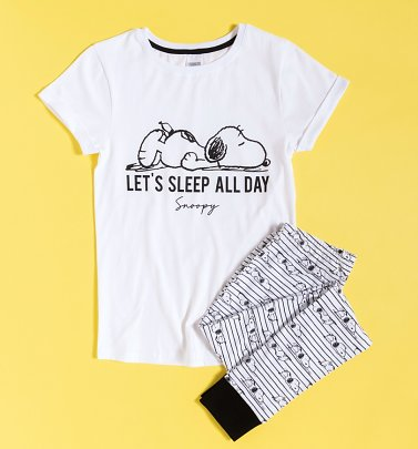 Women's Let's Sleep All Day Snoopy Pyjamas