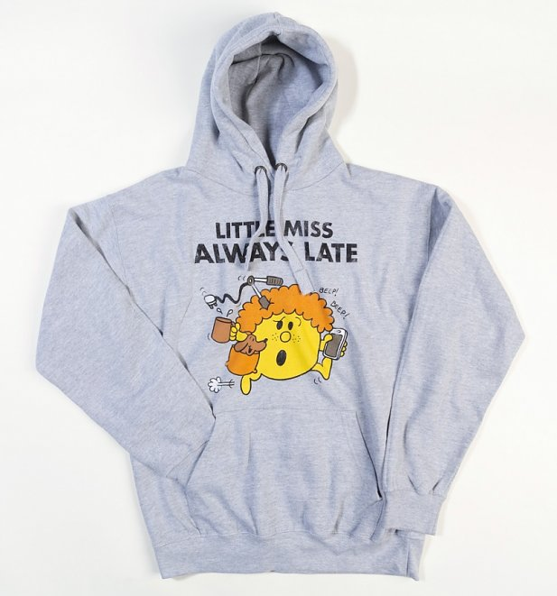 Women's Little Miss Always Late Grey Hoodie