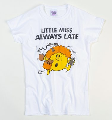 Women's Little Miss Always Late White Fitted T-Shirt