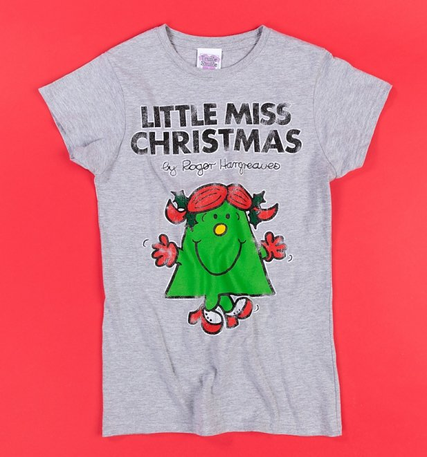 Women's Grey Little Miss Christmas Fitted T-Shirt
