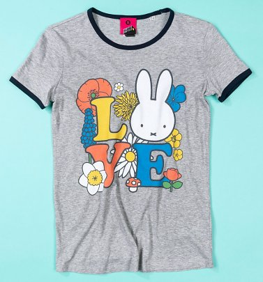 Women's Love Miffy Grey And Navy Ringer T-Shirt