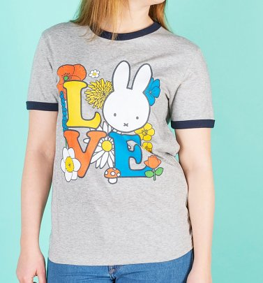Women's Love Miffy Grey And Navy Organic Cotton Ringer T-Shirt