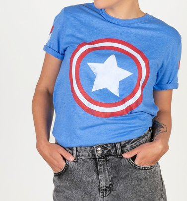 PENDING APPROVAL VIA POETIC Women's Marvel Captain America Shield Blue Boyfriend T-Shirt