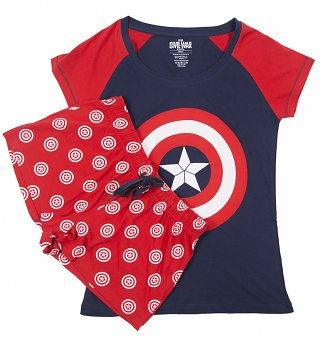 Women's Marvel Comics Captain America Shield Shortie Pyjamas