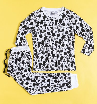 Women's Mickey Mouse Monochrome All Over Print Long Sleeve Disney Pyjamas