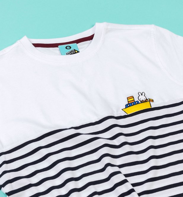 Women's Miffy Embroidered Boat White With Navy Stripes T-Shirt