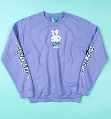 Women's Miffy Flowers Sleeve Print Violet Sweater