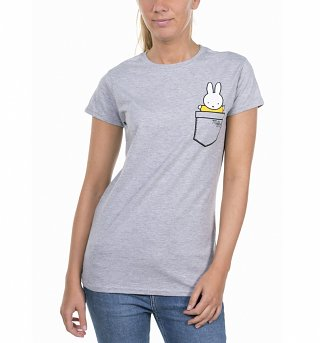 Women's Miffy Printed Pocket Grey T-Shirt
