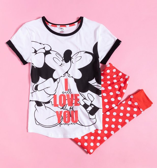 Women's Minnie and Mickey I Love You Disney Pyjamas