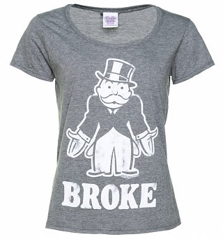Women's Monopoly Broke Graphite Heather Scoop Neck T-Shirt