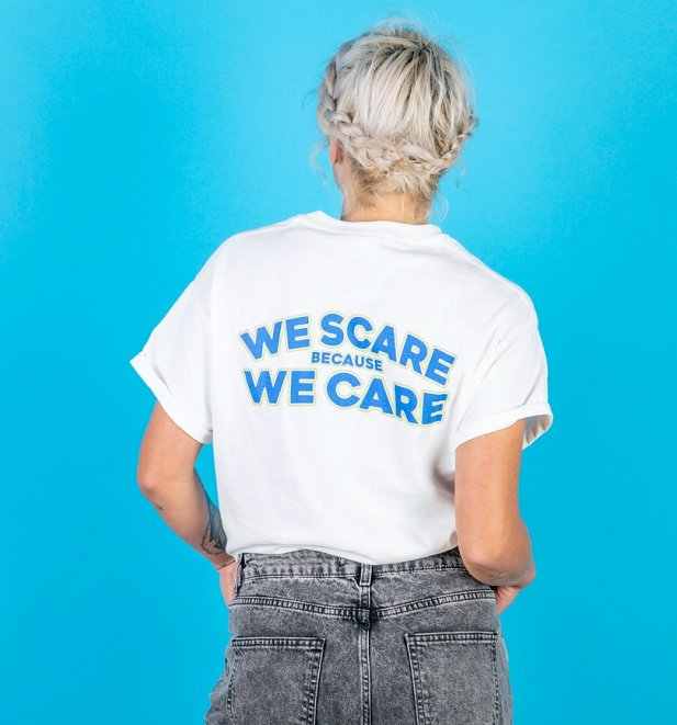 Women's Monsters Inc We Scare Because We Care White T-Shirt