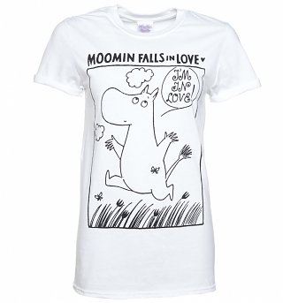 Women's Moomins In Love Comic Strip White Boyfriend Fit T-Shirt With Rolled Sleeves
