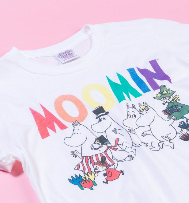 Women's Moomins Rainbow Logo White Boyfriend Fit Rolled Sleeve T-Shirt