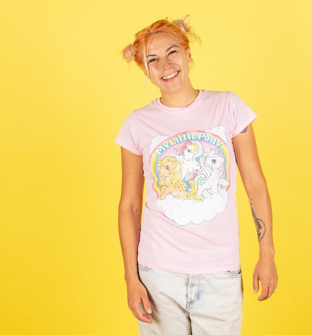 Women's My Little Pony Cloud Scene Light Pink Fitted T-Shirt