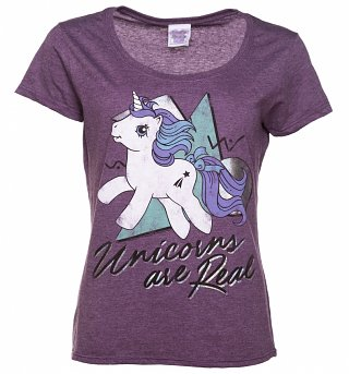 Women's My Little Pony Unicorns Are Real Holographic Print Purple Marl Scoop Neck T-Shirt