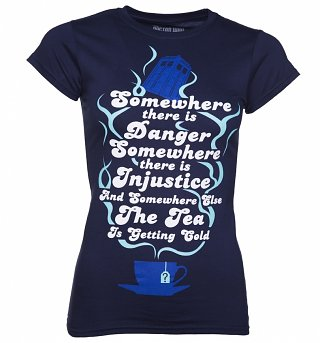 Women's Navy Doctor Who Tea Quote T-Shirt