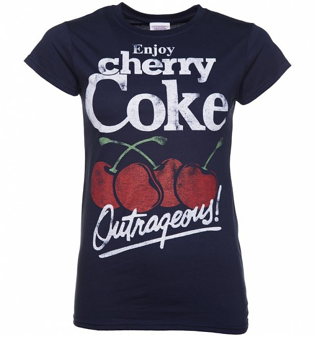 Women's Navy Enjoy Cherry Coke T-Shirt