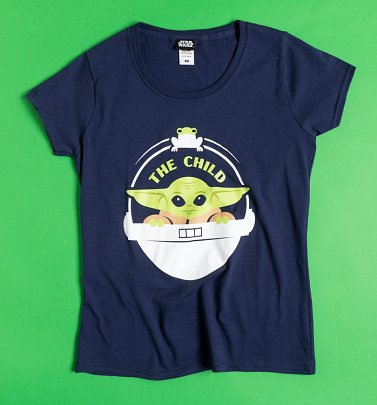 Women's Navy Mandalorian The Child Fitted T-Shirt