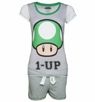 Women's Nintendo Mushroom 1 Up Shortie Pyjamas