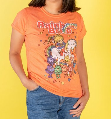 Women's Orange Rainbow Brite And Sprites Fitted T-Shirt