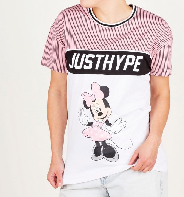 Women's Oversized Striped Disney Minnie Mouse Sports T-Shirt from Hype