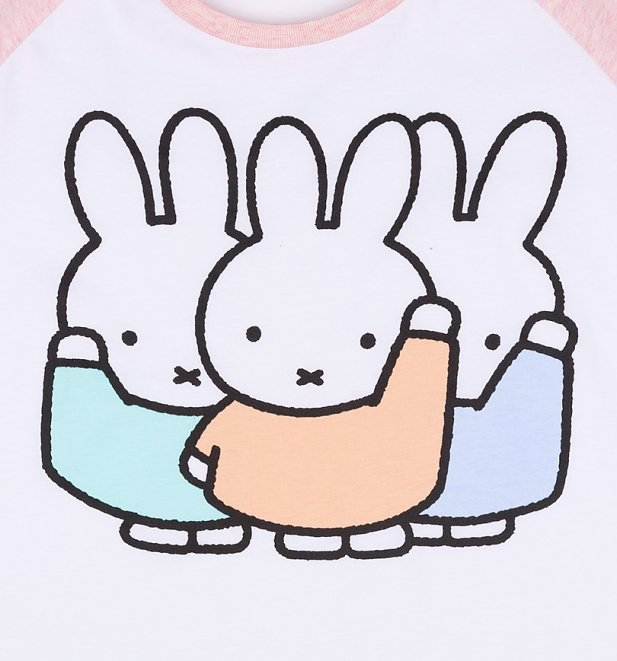 Women's Pastel Miffy Gang White And Pink Raglan Baseball T-Shirt