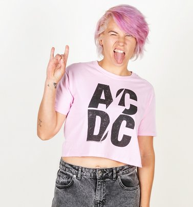Women's Pink AC/DC Logo Crop Top