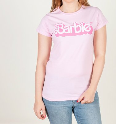 Women's Pink Barbie 80's Logo Fitted T-Shirt