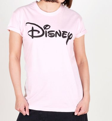 Women's Pink Disney Logo Oversized T-Shirt With Rolled Sleeves