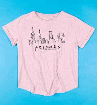 Women's Pink Marl Friends Skyline T-Shirt