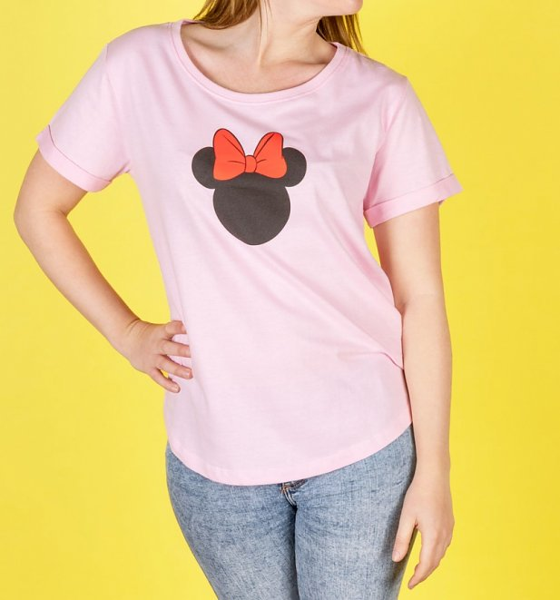 Women's Pink Minnie Silhouette T-Shirt
