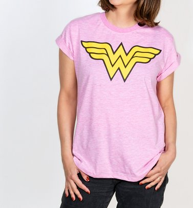 Women's Pink Wonder Woman Classic Logo T-Shirt from For Love & Money