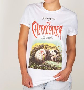 Women's Point Horror Inspired The Cheerleader White Boyfriend Fit Rolled Sleeves T-Shirt