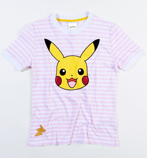 Women's Pokemon Pikachu Striped T-Shirt from Difuzed