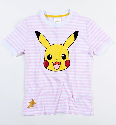 Women's Pokemon Pikachu Striped T-Shirt