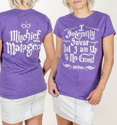 Women's Purple Harry Potter I Solemnly Swear Mischief Managed Fitted T-Shirt