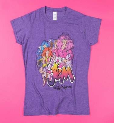 Women's Purple Marl Jem and the Holograms Band Fitted T-Shirt