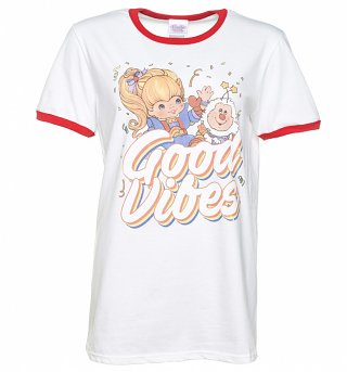 Women's Rainbow Brite Good Vibes White and Red Ringer T-Shirt