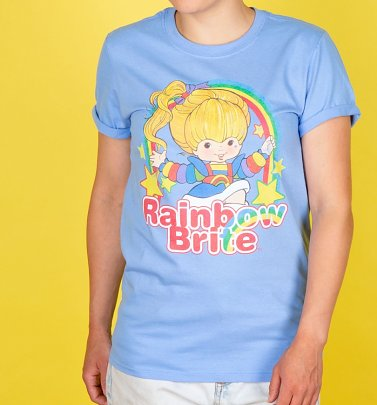 Women's Rainbow Brite Stars Carolina Blue Boyfriend Fit Rolled Sleeve T-Shirt
