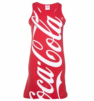 Women's Red Coca-Cola Logo Dress from Hype