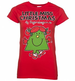 Women's Red Little Miss Christmas T-Shirt