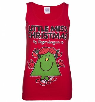 Women's Red Little Miss Christmas Vest