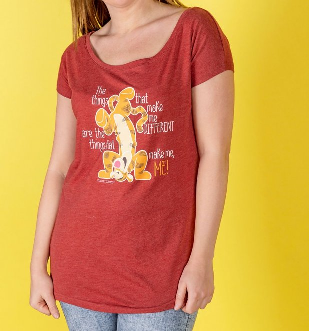 Women's Red Marl Winnie The Pooh Tigger Quote Oversized T-Shirt