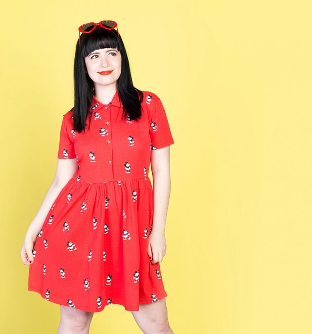 Red Mickey Mouse All Over Print Button Up Dress from Cakeworthy
